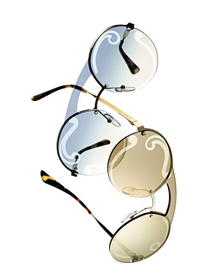 Embossed Round Sunglasses