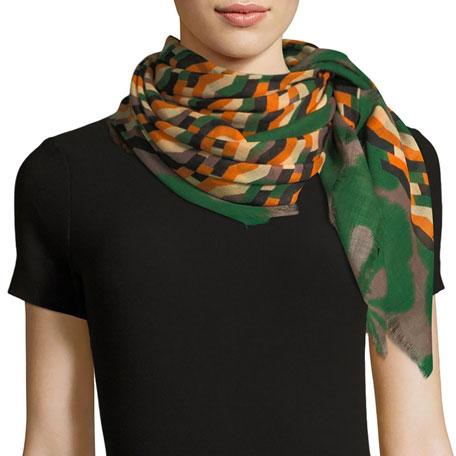 Zigzag-Print Wool Scarf