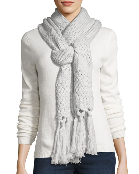 Cashmere Knit Scarf w/ Fringe Tassels