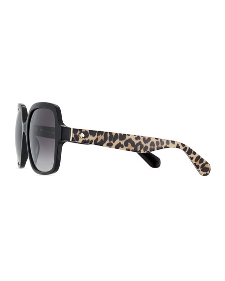 katelee square leopard-arms sunglasses