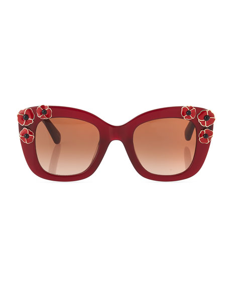 drystle flower-trim acetate sunglasses