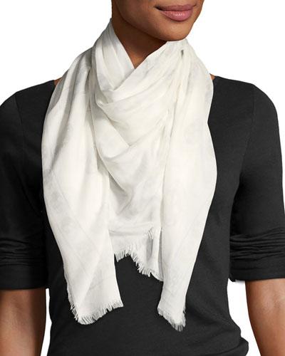 Skull Modal-Silk Scarf  White Pattern