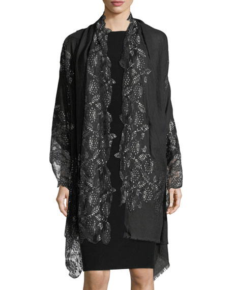 Pumice Lace-Overlay Evening Stole/Wrap