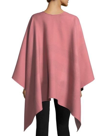 Burberry Charlotte Check-To-Solid Wool Cape, Rose 47462c5c4a4