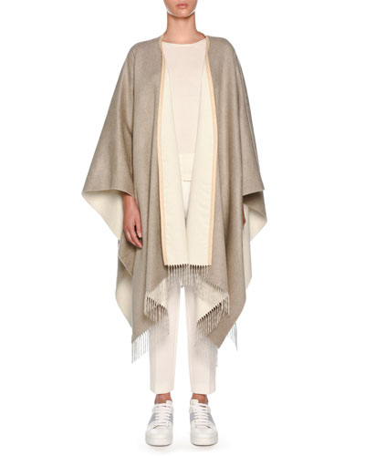 Open-Front Silk Poncho