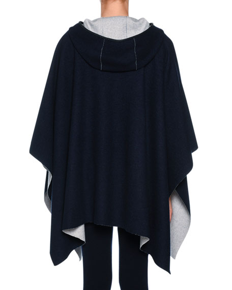 Cashmere-Knit Hooded Cashmere Cape with Leather Trim
