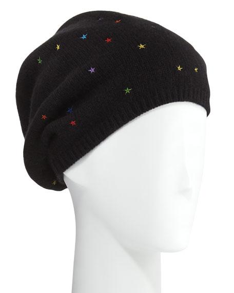 Star-Embroidered Cashmere Mushroom Hat