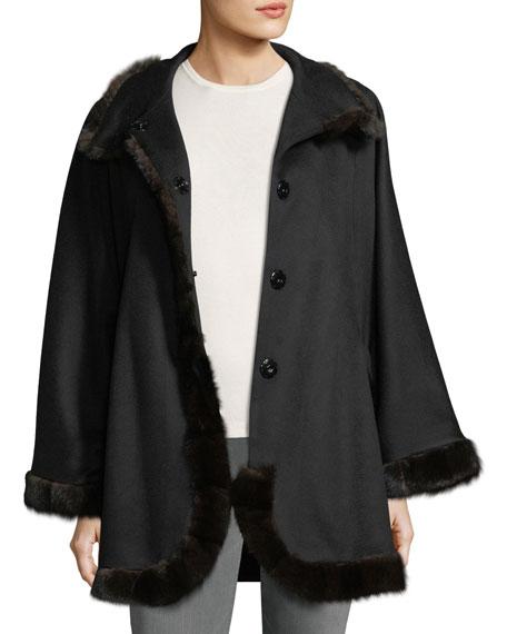 Belted Cashmere Cape w/ Cross Cut Mink Fur Trim