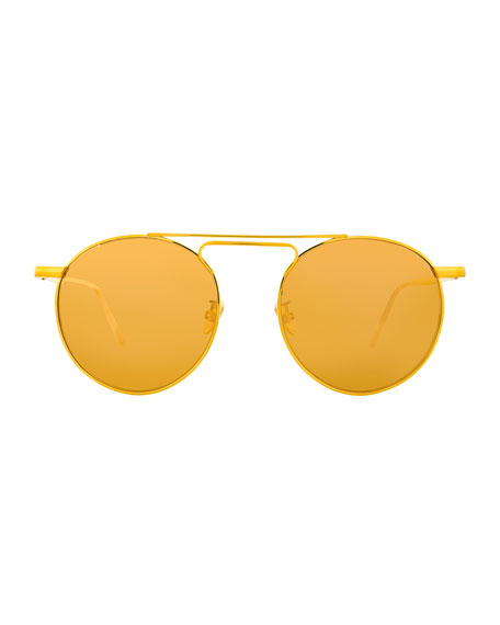 Round Double-Bridge Sunglasses, Yellow Pattern