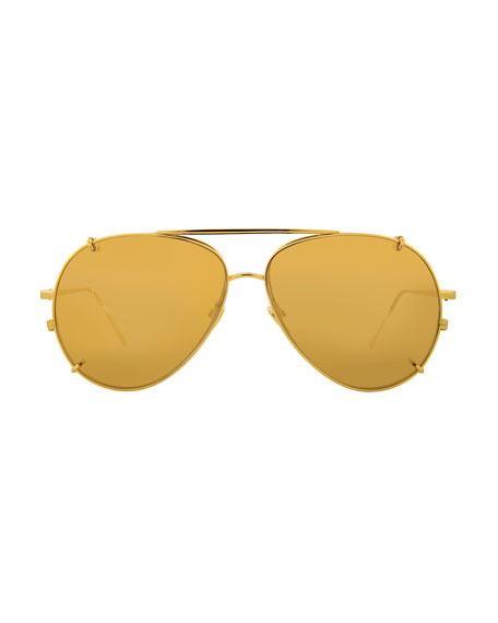 Aviator Glasses w/ Removable Sun Lenses, Yellow Pattern