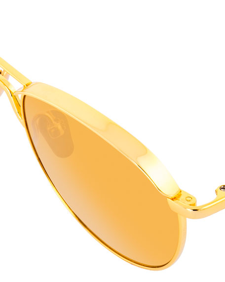 Round Titanium Sunglasses, Yellow Pattern