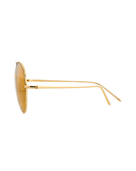 Semi-Rimless Aviator Sunglasses, Yellow Pattern
