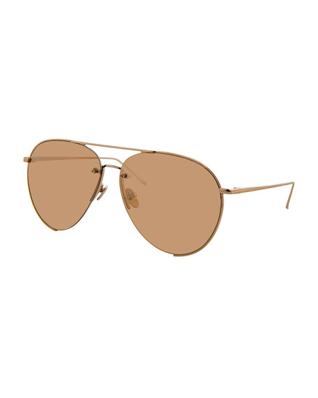 Semi-Rimless Mirrored Aviator Sunglasses, Rose Gold