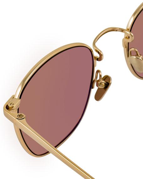 Square Gradient Titanium Sunglasses, Gold