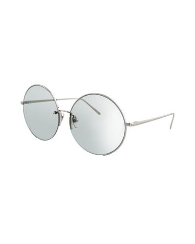 Round Semi-Rimless Sunglasses, White Gold