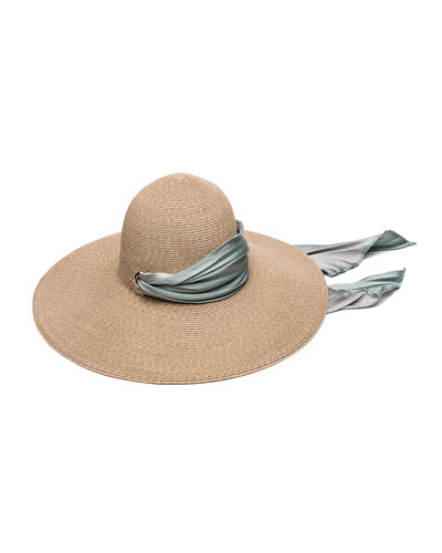 Bunny Hemp-Blend Sun Hat with Satin Band