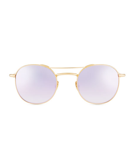 Orleans Round Mirrored Titanium Sunglasses