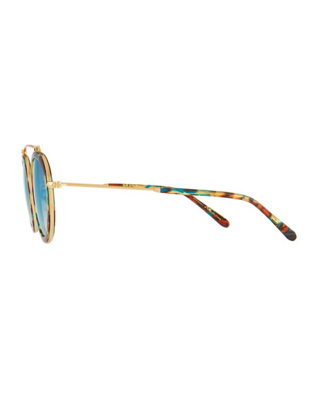Conti Mirrored Round Aviator Sunglasses, Multi Pattern