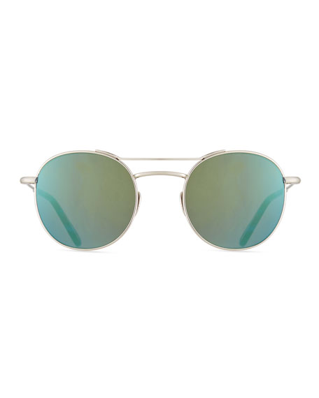 Orleans Mirrored Titanium Round Sunglasses