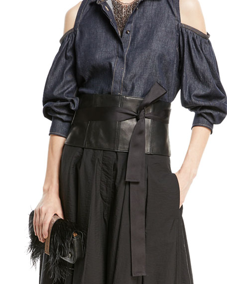 Leather Corset Belt with Grosgrain Ties