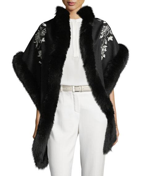Cashmere Floral Embroidered Shawl w/ Fur Trim