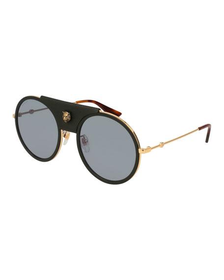 Round Web Sunglasses w/ Leather Trim, Gold/Black