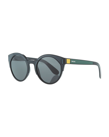 Round Colorblock Sunglasses, Gray