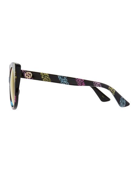 c048991ccb2bc Gucci Glitter Striped Cat-Eye Sunglasses