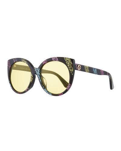 Glitter Striped Cat-Eye Sunglasses