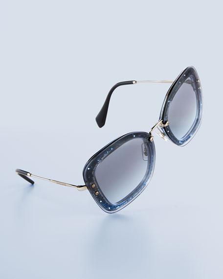 Rectangle Glitter-Illusion Frame Sunglasses