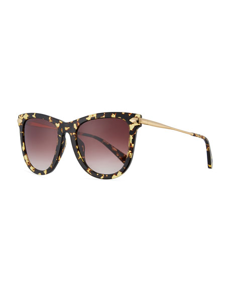 Simone Polarized Square Acetate Sunglasses, Zulu