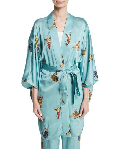 Fishgeisha Japanese-Inspired Silk Kimono