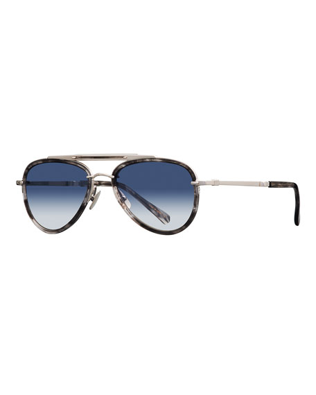 Image 1 of 1: Platinum Plated Titanium Aviator Sunglasses w/ Acetate Trim, Silver