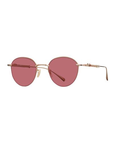 12K White Gold Plated Titanium Round Sunglasses, Gold
