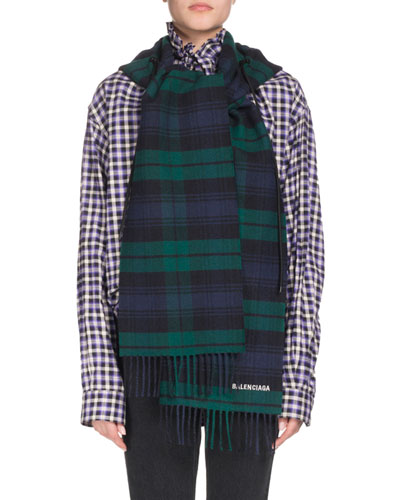 Tartan Hooded Wool Scarf, Blue/Green