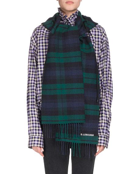 Tartan Hooded Wool Scarf, Blue/Green in Navy