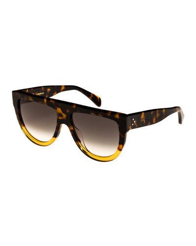Flattop Two-Tone Shield Adjusted-Fit Sunglasses, Brown Pattern