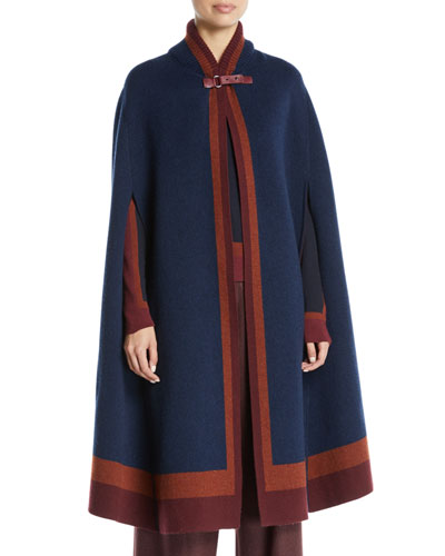 Baby Cashmere Ribbed-Neck Cape w/ Calfskin Leather Trim