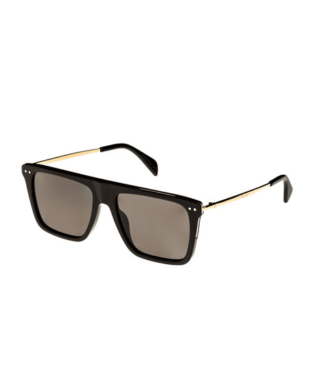 54MM POLARIZED FLAT TOP SUNGLASSES - BLACK/ GOLD/ GREEN POLARIZED