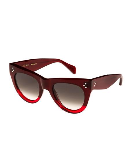 51Mm Cat Eye Sunglasses - Gradient Red/ Smoke Green, Red Pattern