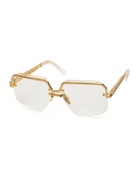 5d8de68527 Celine Bold Rectangular Acetate Metal Polarized Sunglasses
