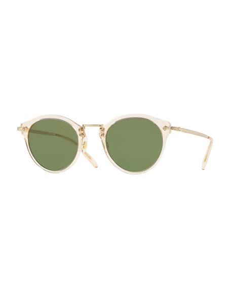Oliver Peoples Semitransparent Acetate & Metal Round Sunglasses