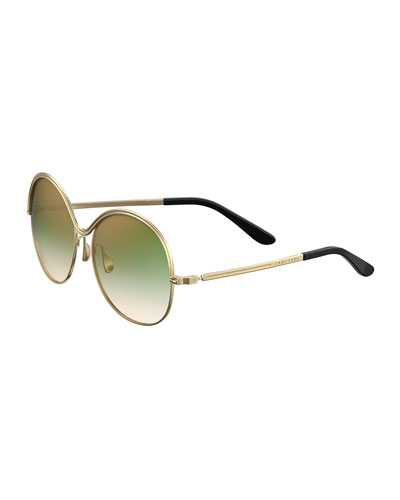 Round Ridged-Frame Gradient Sunglasses
