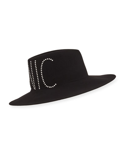Harlowe Crystal-Embellished Iconic Wool Hat