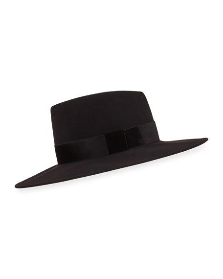 Harlowe Wool Panama Hat W/ Velvet Ribbon in Black
