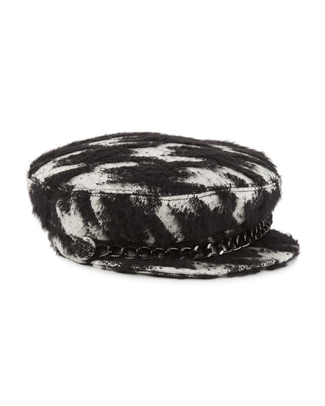 Marina Chain-Embellished Houndstooth Bouclé Cap, Black