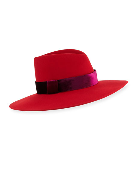 Image 1 of 1: Harlowe Wool Panama Hat w/ Velvet Ribbon