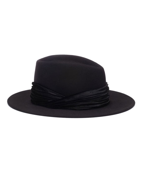 Blaine Wool Fedora Hat w/ Swarovski Pearls