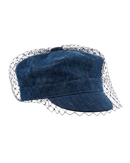 Arty Veil Denim Cap, Blue