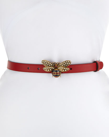 b0a9c9f06 Gucci Queen Margaret Leather Belt w/ Embellished Bee Buckle